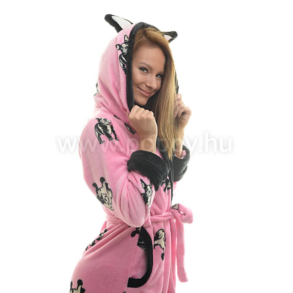 Poppy DK Bulldog Mintás Közép pink-Fekete Köntös a24edc0c19