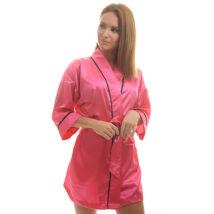 Poppy Kimonó Pink-Fekete Szatén Köntös