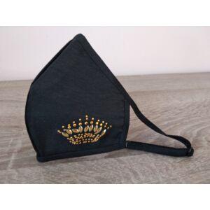 Luxury Arcmaszk, Fekete, Arany korona