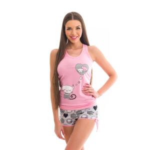 Poppy Freaky Cicás Közép Pink-Szürke Trikó szett, L