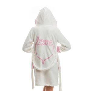 Poppy DK Love Aprószíves Ekrü-Közép Pink Köntös, XL