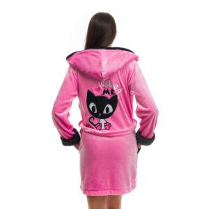 Poppy DK Masnis Cica Közép Pink-Fekete Köntös, XL
