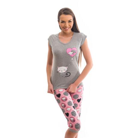 Poppy Fancy Cicás Szürke-Közép pink Pizsama