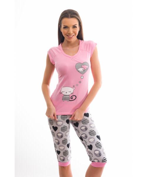 Poppy Fancy Cicás Közép pink-Szürke Pizsama