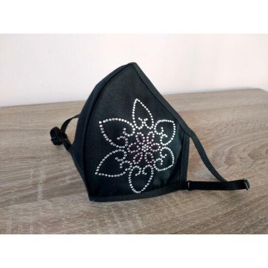 Luxury Arcmaszk, Fekete, Virág
