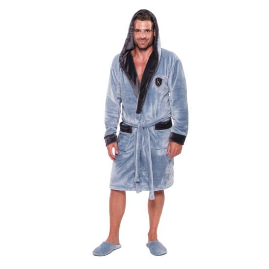 König Underwear DK Férfi Világoskék-Sötétszürke Köntös